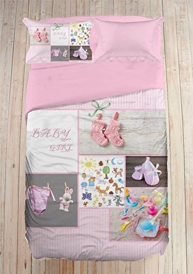 Firuze 3D %100 Pamuk Bebek Nevresim Takımı (pink Love) Renkli
